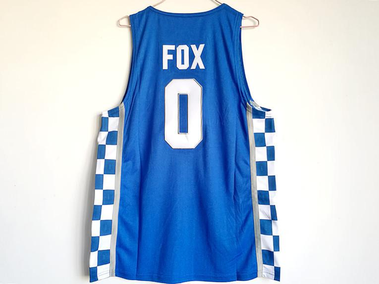 De la Universidad de Kentucky MEN # 0 FOX BORDADO Escuela de Baloncesto JERSEY azul tamaño S M L XL XXL XXXL
