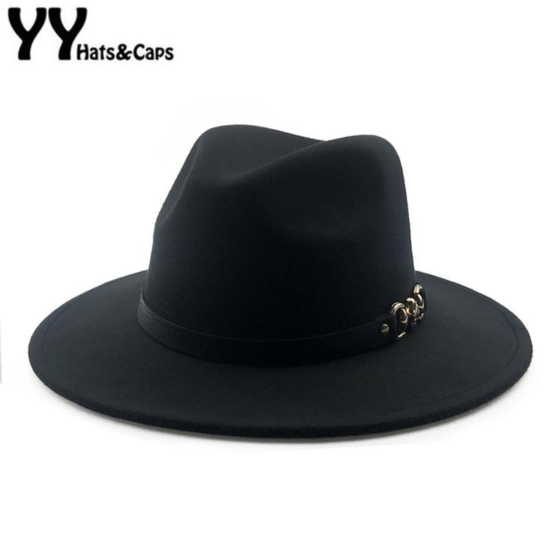 13b06563597d24 YY Metal Skull Belt Fedora Cap Men Winter Vintage Trilby Hats Women Warm Felt  Cap Wide Brim Top Jazz Panama Hats 18126 D19011103 Black Hats Scala Hats  From ...