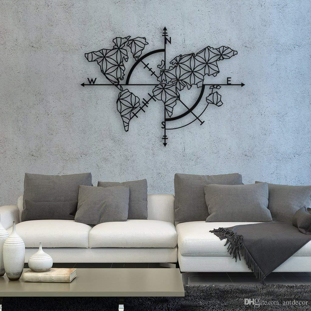 Antdecor Map Of Life Metal Wall Art World Map And Compass Themed Wall Decor 38 X 27