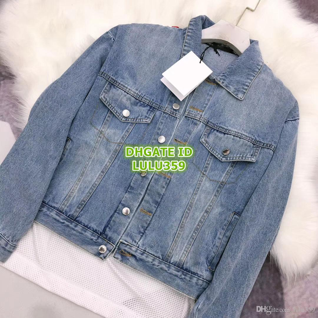2019 Women Outwear Denim Jackets With Panelled Mesh Letter Print Long  Sleeve The High-End Custom Female Tops Coat Active Casual Jacket
