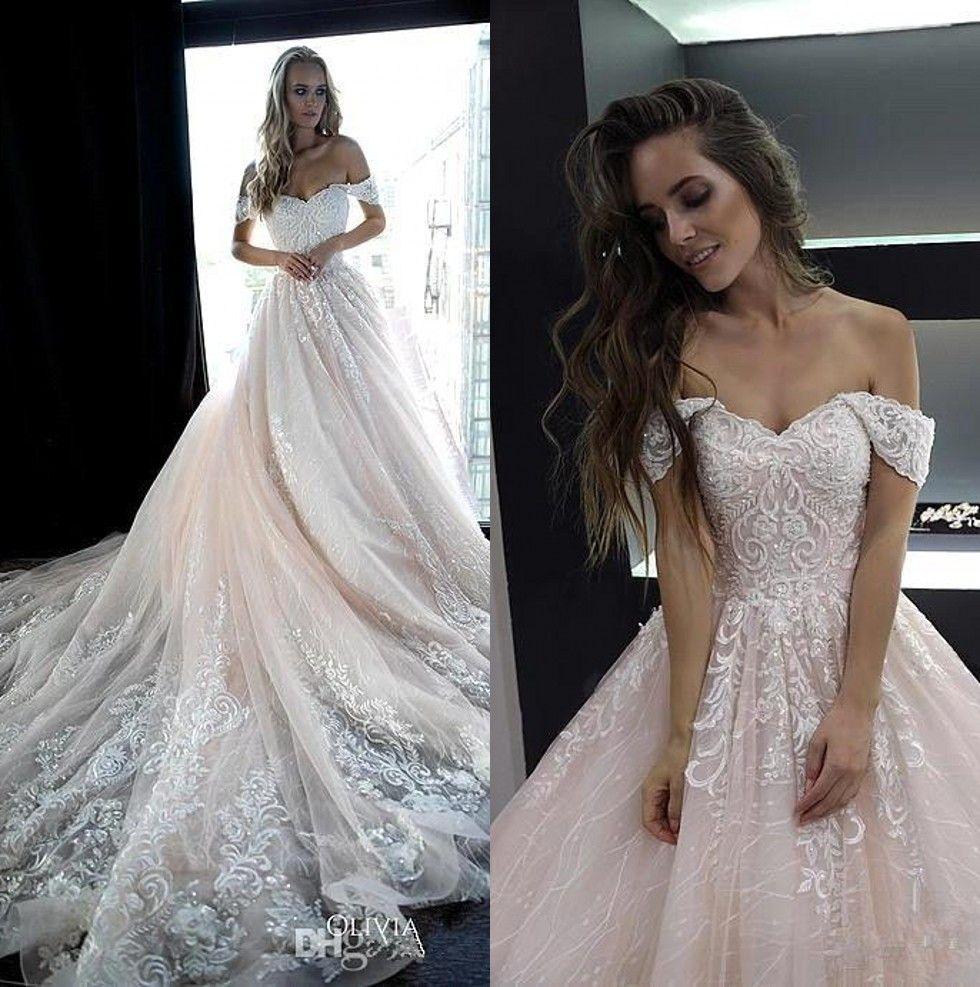 42df492d4 Discount Pale Pink Off The Shoulder Lace Wedding Dresses 2019 Tulle  Appliques Beaded A Line Bridal Wedding Gowns Robes De Mariée BC2044  Discount Wedding ...