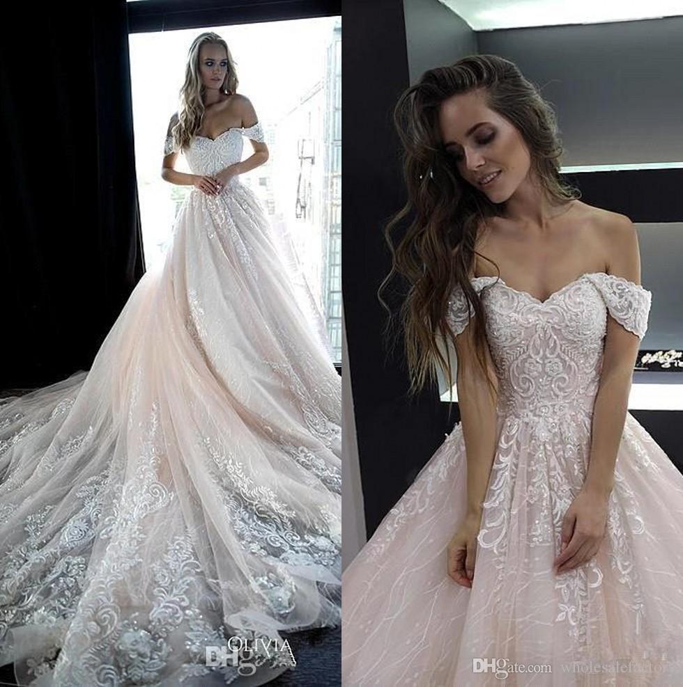 Rose Pâle Hors Des Robes De Mariée En Dentelle épaule 2019 Tulle Appliques Perlé Une Ligne Robes De Mariée Mariage Robes De Mariée Bc2044