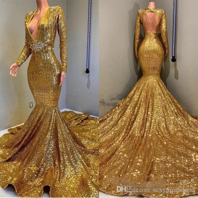 7a68a0a3f6fc Charming Gold Sequined Prom Dresses Sexy Deep V Neck Mermaid Evening Gowns  Long Sleeves Open Back Sweep Train Party Dress Cheap Short Purple Prom  Dresses ...