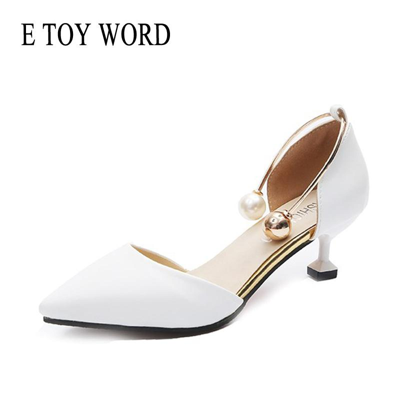 Shoes E TOY WORD Women's Spring Low-heeled 5cm High heels Elegant Pearl Metal Buckle Thin Women's Sandals shallow Mouth Pumps