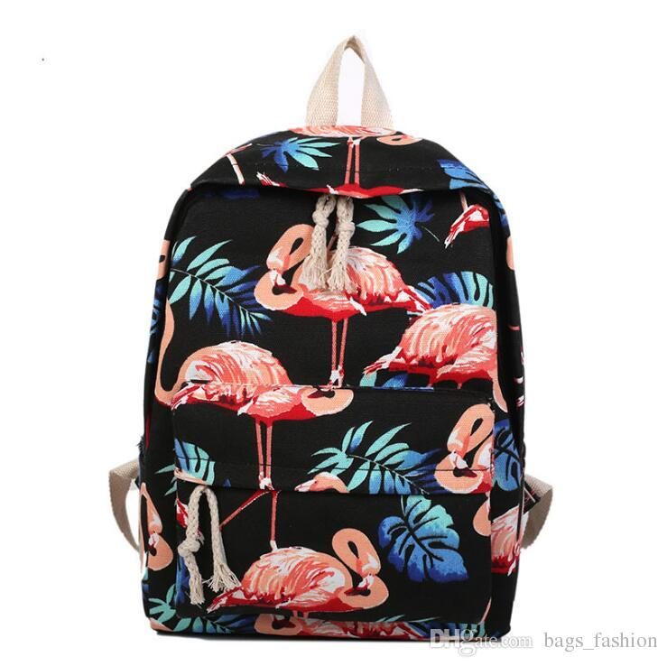 Perilla Waterproof Women Backpack Cute Flamingo Pattern Female Travel Daily Laptop Knapsack Canvas Backpack for Teenage Girls Free shipping