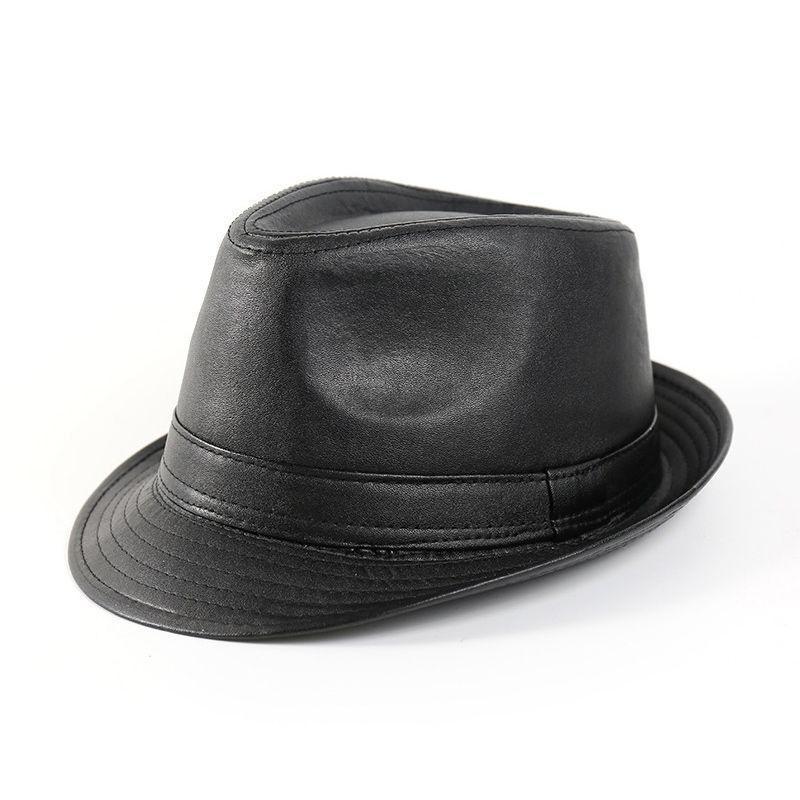 Compre Cuero De La PU Sombreros De Fedora Vintage Jazz Cap d0ae52aaf4d