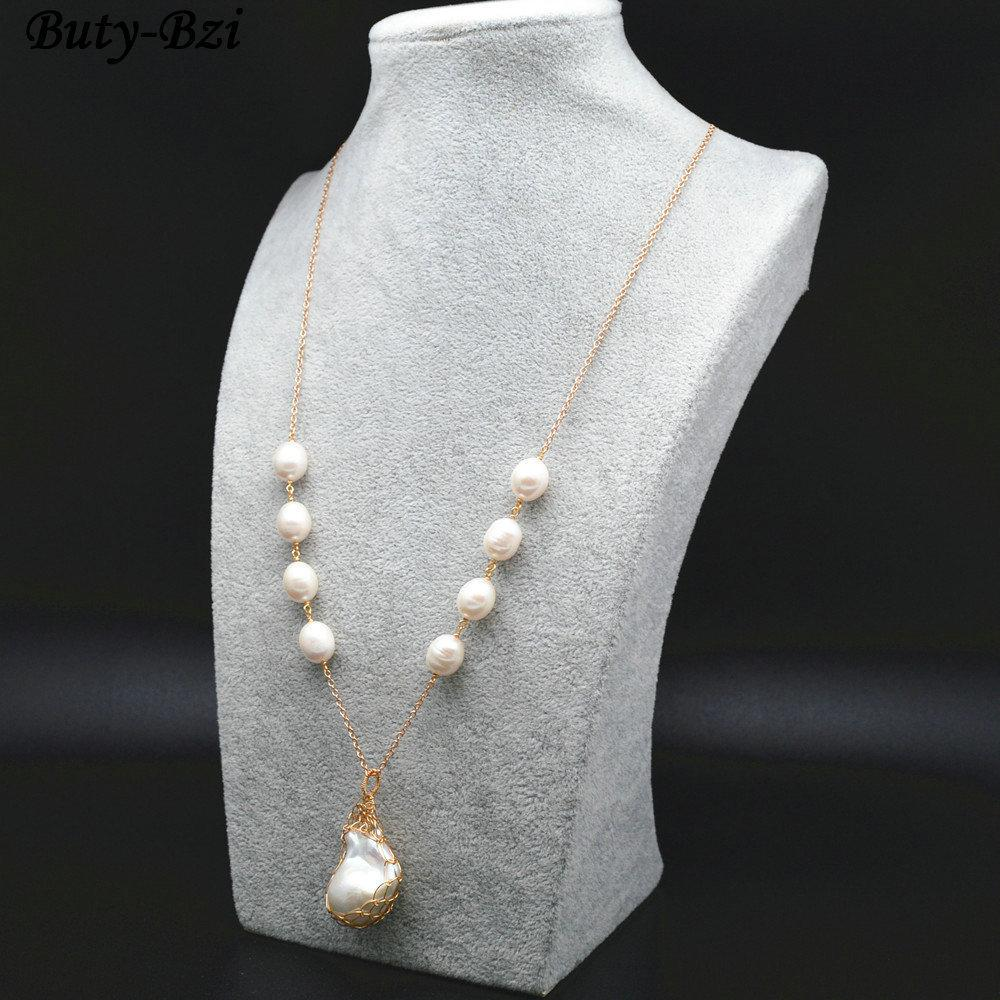 High Quality Natural Fresh Water Pearl Wire Wrapped Baroque Bead Pendant Linked Chains Necklace Fashion Waman Party Jewelry J190711