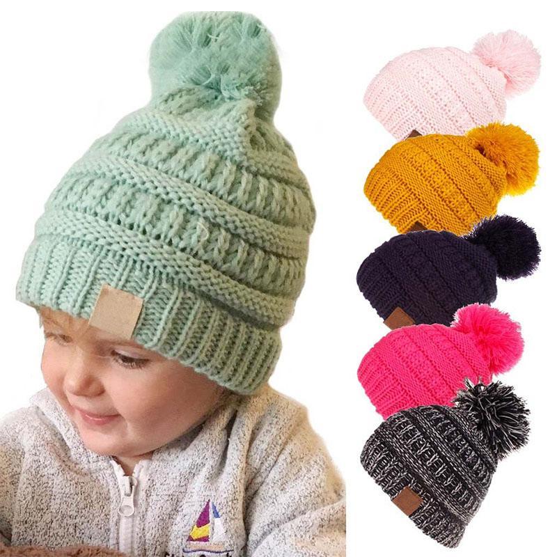 2019 Cute Kids Knitting Pompom Hat Winter Ear Warmer Hairball