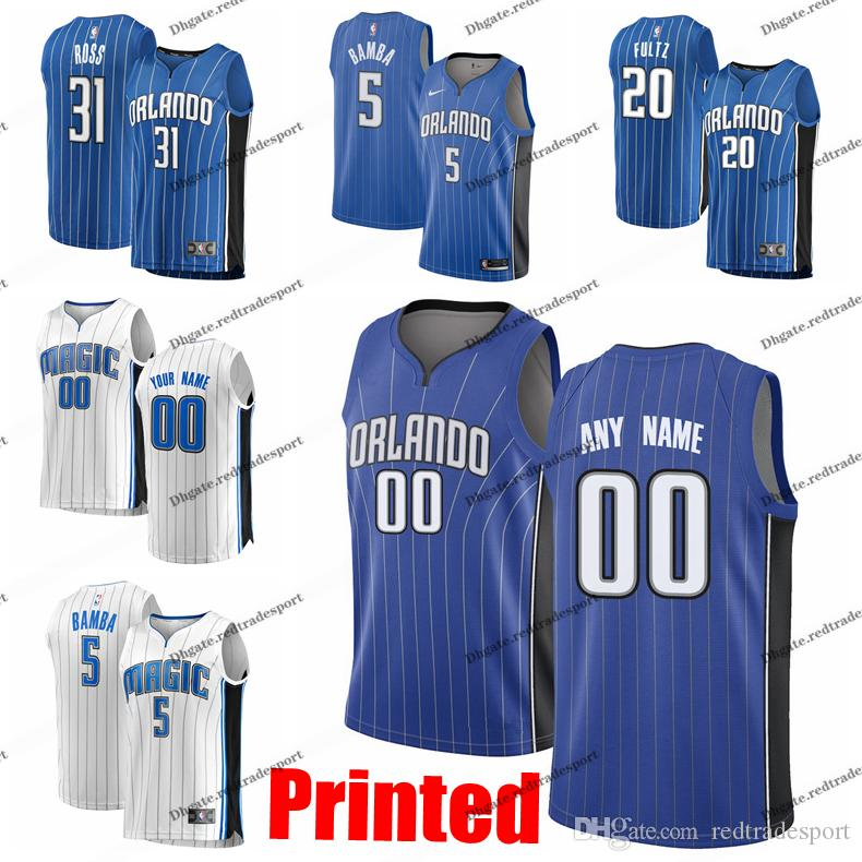 best service b0925 d6499 Printed Orlando City Magics Aaron Gordon Nikola Vucevic Terrence Ross Evan  Fournier Markelle Fultz Mohamed Bamba Edition Basketball Jersey