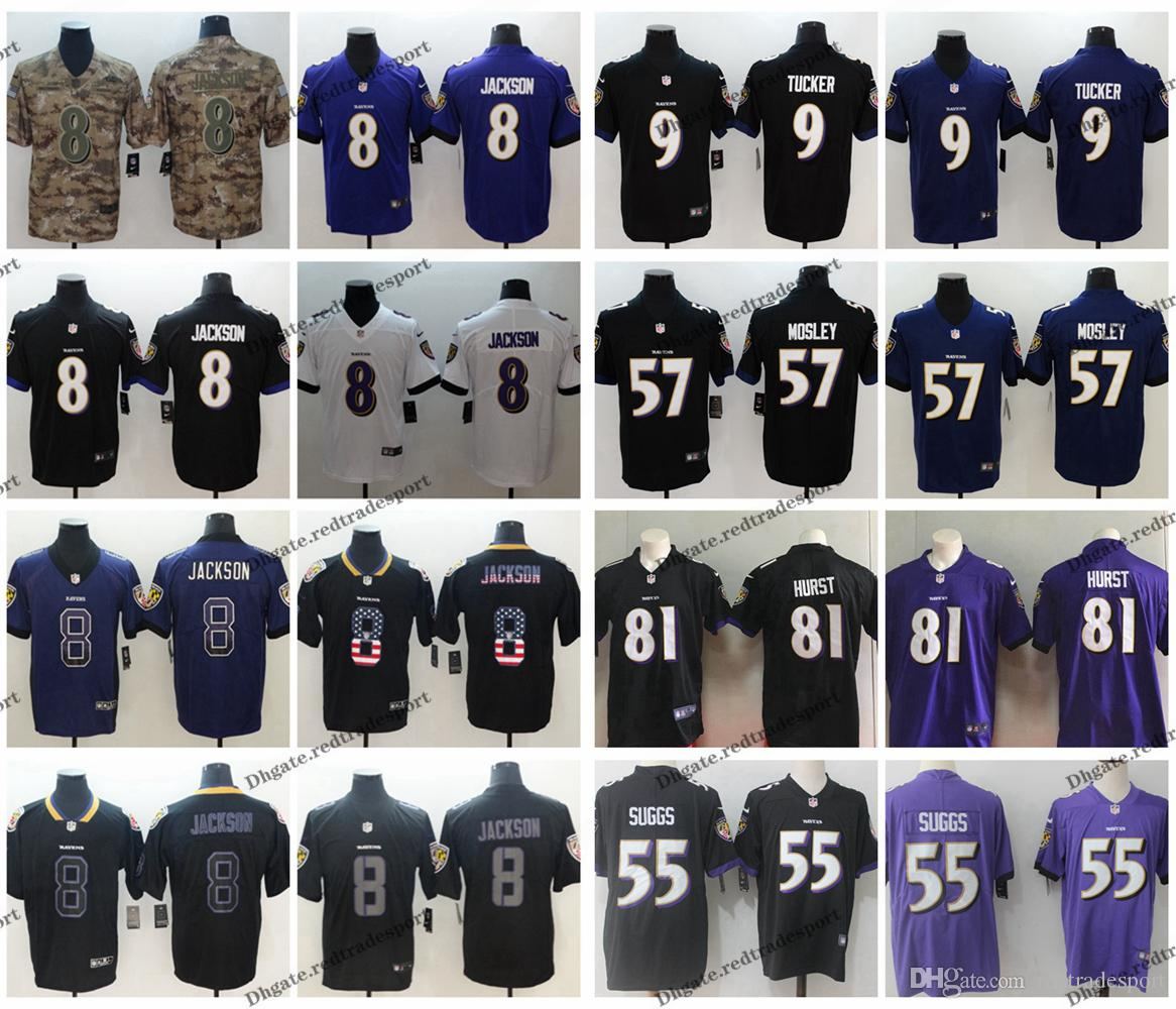 big sale 2a2ba ec41f 2019 Camo Salute to Service Baltimore 8 Ravens Lamar Jackson Football  Jersey 57 CJ Mosley 9 Justin Tucker