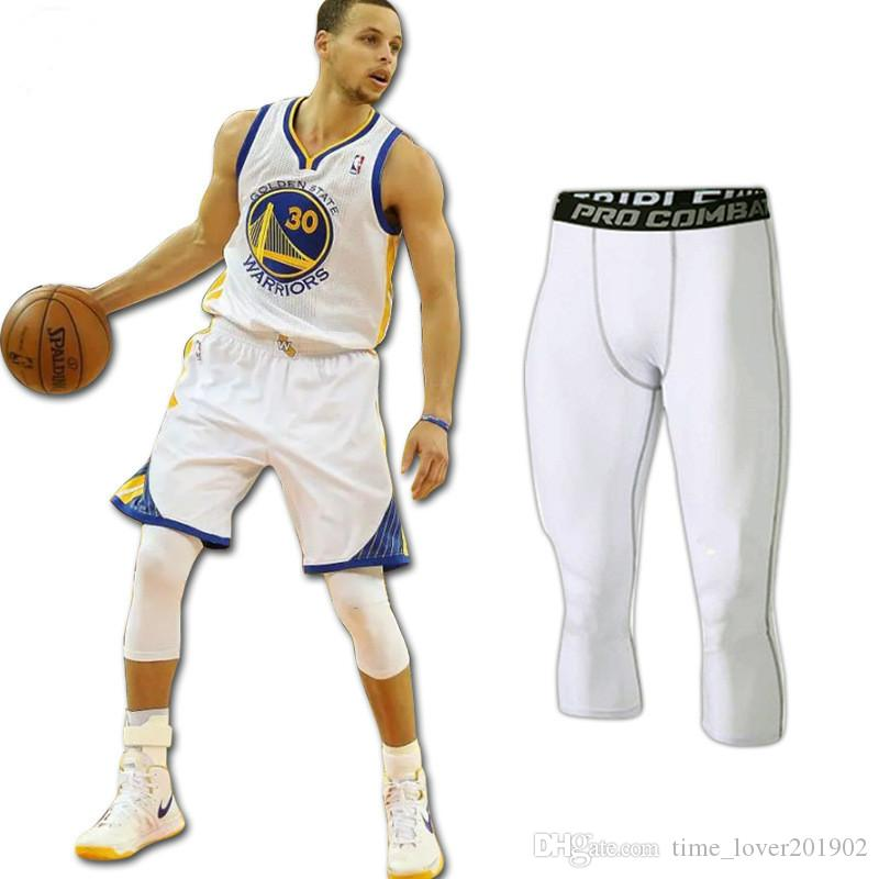 2019 stretch pants Quick-drying exercise Tight Fitness pants Male basketball Run training compression Tight cropped trousers