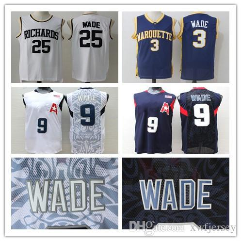 cc3ec807c 2019 3 Dwyane Jersey Marquette College 2008 Olympic Games  9 Wade Richards  High School  25 Full Stitched Jersey Shirt S 2XL From Xwfjersey