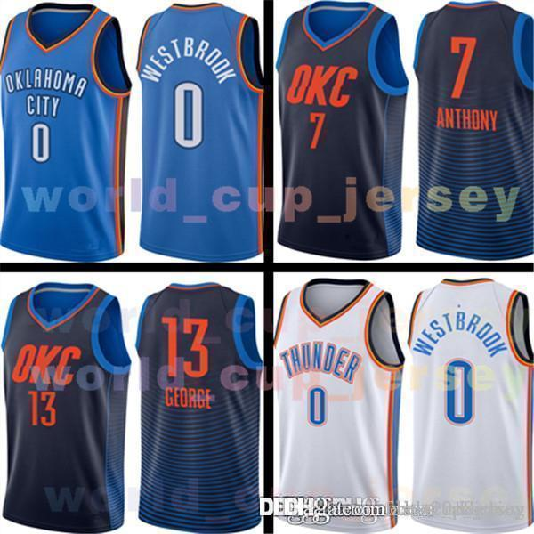 d9975c9ba0fc 2018 Oklahoma City Jersey Mens 0 Russell Westbrook Basketball Jerseys  Thunder 13 Paul George 7 Carmelo Anthony Adult SIZE S XXL 100% Stitched  From ...