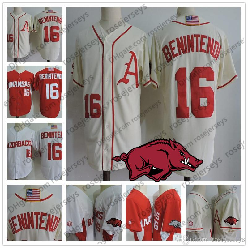 0e6c3cacf 2019 Arkansas Razorbacks  16 Andrew Benintendi Cream Jersey Red White Men  Youth Kid Women Boston Stitched NCAA College Baseball Vintage S 4XL From ...
