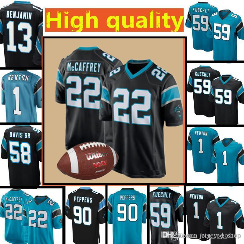 best service 4eb36 3d421 Men s Carolina Panthers Jersey 22 Christian McCaffrey 1 Cam Newton 59 Luke  Kuechly 90 Julius Peppers 13 Kelvin Benjamin Jerseys