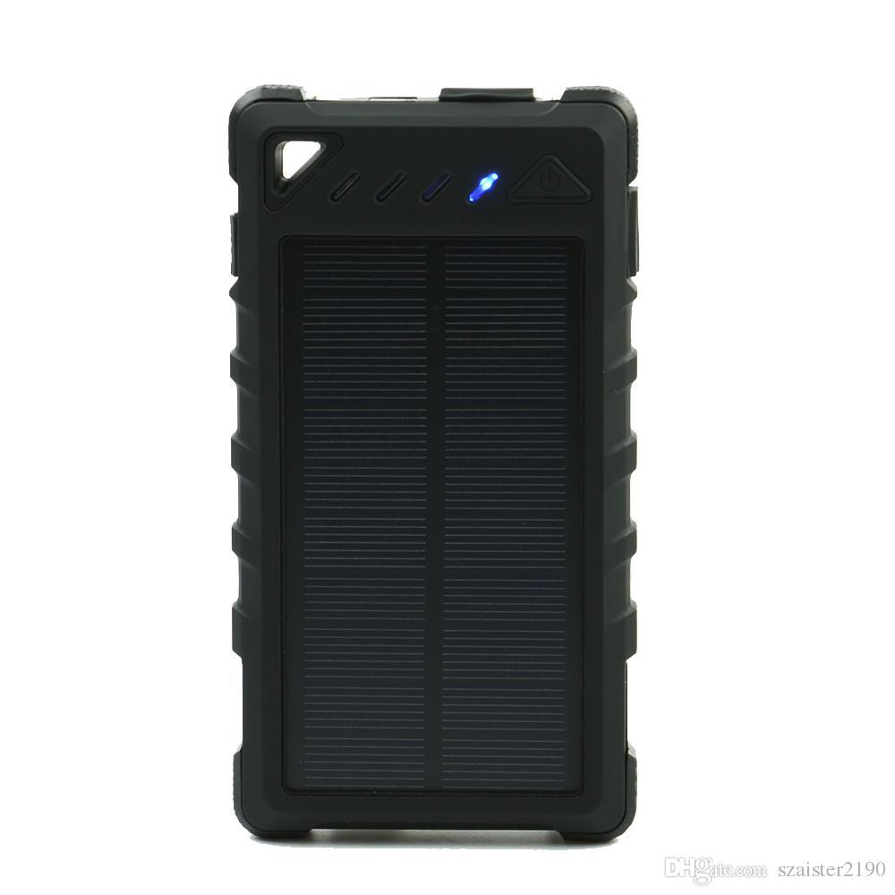 buy online 2e1d5 8645e Solar Power bank 8000mAh Portable Waterproof Solar Charger powerbank 8000  mah Dual USB External Battery Power Bank Charger