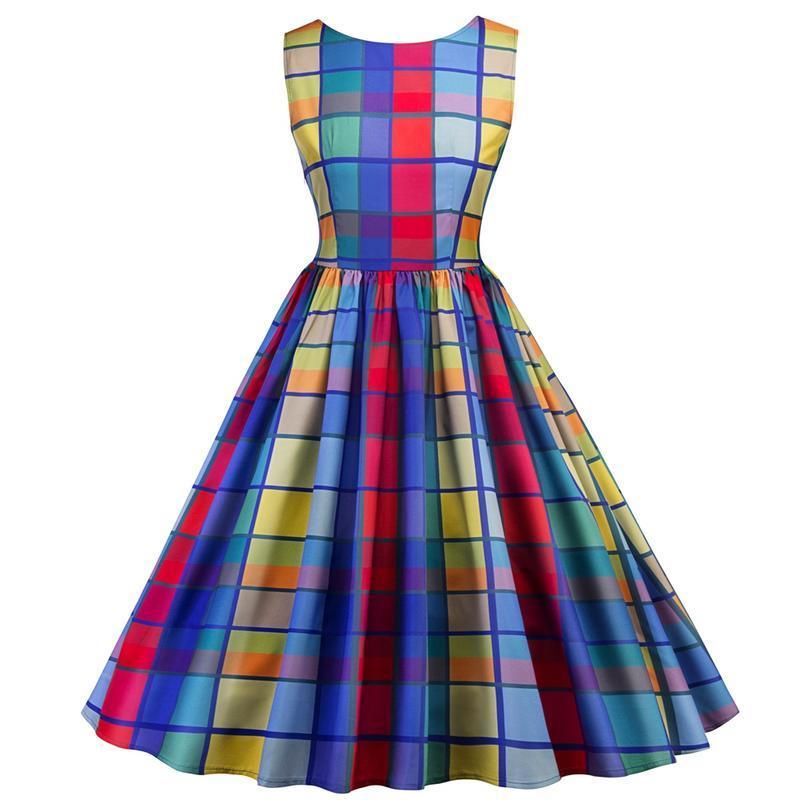 Plaid Dresses For Women Sleeveless 50S Retro Style Hepburn Style Rainbow  Floral Print Waist Slimming Flare Dress