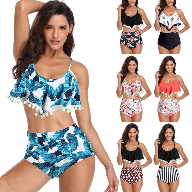 b91a58daf6 2019 Women Sexy Flower Print Swimwear Bikinis Set Retro Flounce High  Waisted Bikini Halter Neck Two Piece Swimsuit MMA1873 From B2b_baby, $0.04    DHgate.Com