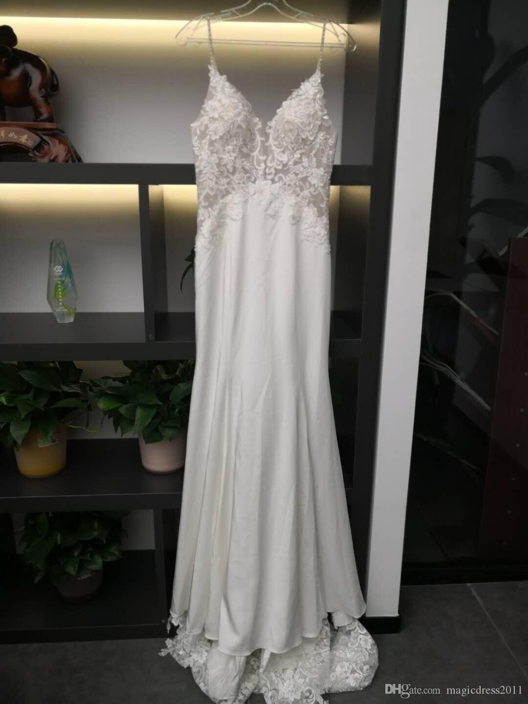 New Cheap Simple A Line Wedding Dresses French Lace Sexy Spaghetti Backless Floor Length Wedding Gowns Bridal Dress 100% Real Image 5934