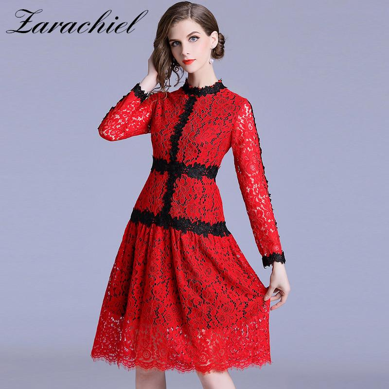 a807198649 Runway Designer 2019 Spring Women's Long Sleeve Slim Sexy Hollow Out  Vestidos Lace Dress Patchwork Flower Red A Line Party Dress