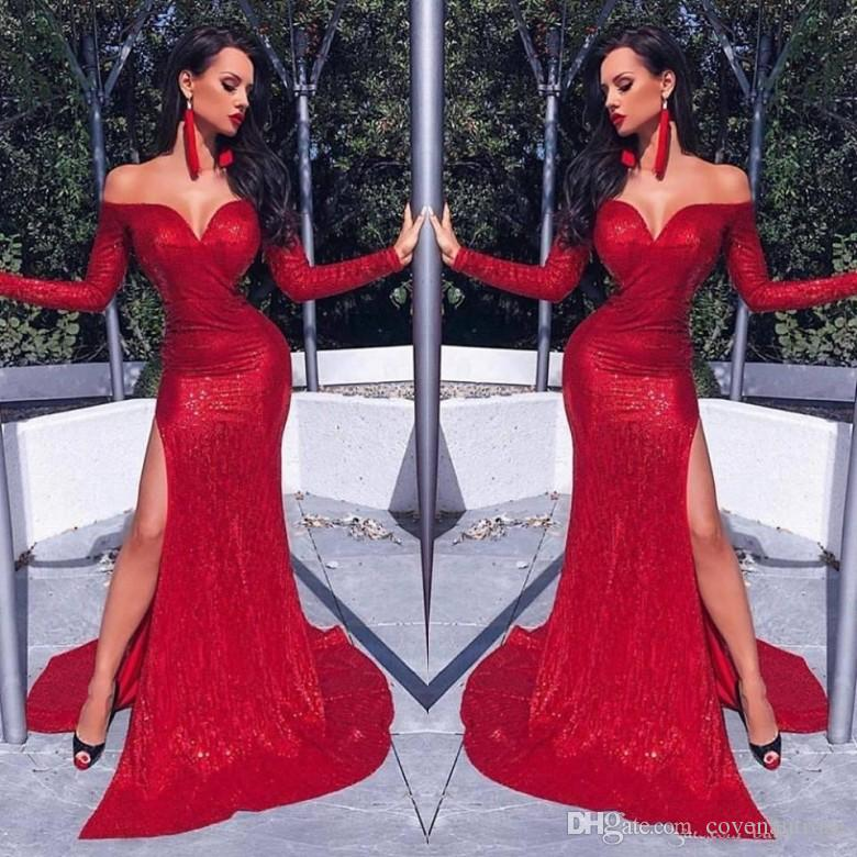 Sexy Mermaid Red Sequined Prom Dresses 20