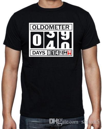 40th Birthday Oldometer Funny Present Gift Party Son Brother Dad Black T Shirt Cotton Men Shirts Classical Top Tee Every Day Cool