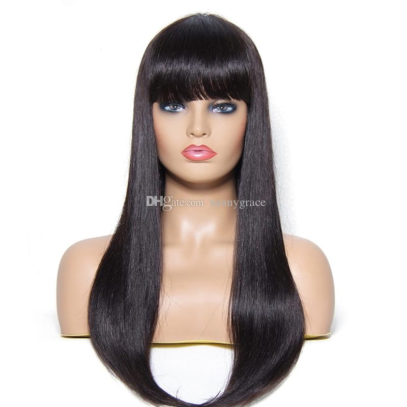 Perfect silky straight human hair front lace wig with bangs wigs 150 density glueless full lace wig with natural hairline