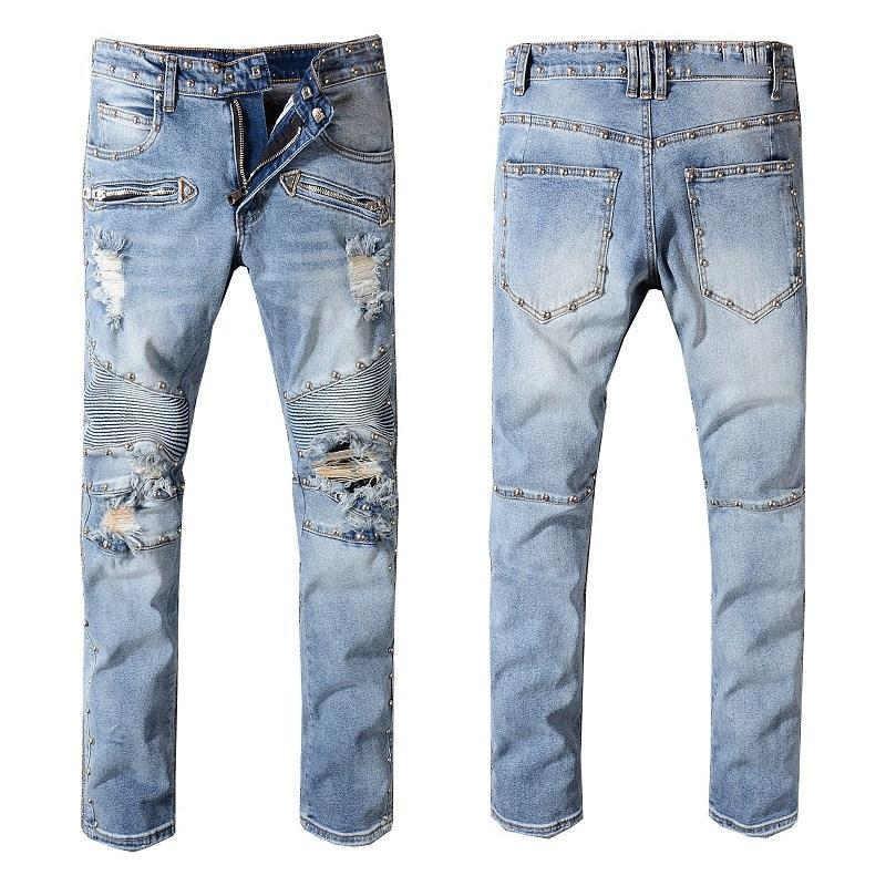 2019 mens jeans distressed motorcycle biker jeans rock revival
