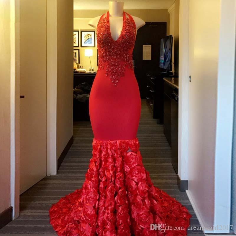 Long Red Mermaid Prom Dresses 2019 Halter Sleeveless Beaded Lace African Black Girl Flowers Party Prom Gowns Elastic Satin Cocktail Dress