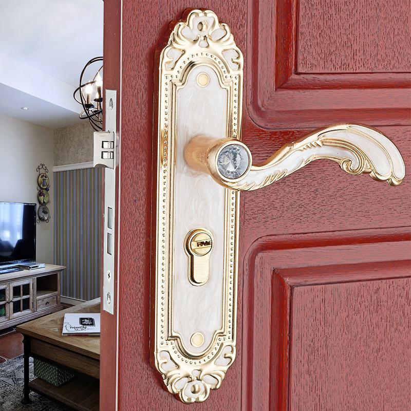 Serrure de porte de chambre à coucher blanche ambre européen poignée  mécanique serrure de porte en bois intérieure moulage intégré