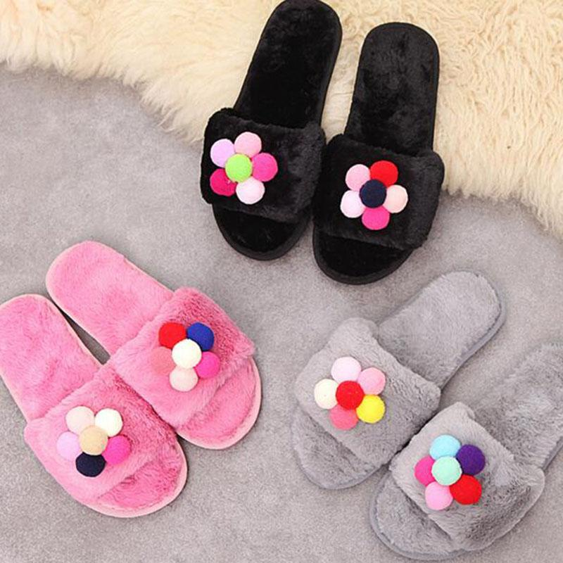 f58624d478e5 Women Fashion Winter Warm Home Furry Cotton Slippers Shoes DIY Flower  Design Extra-thick Platform Slippers Plush Shoes Non-slip Slippers Cheap  Slippers ...