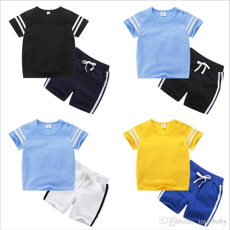 b549d331e4082 Boys Sports Suits Kids Designer Clothes Baby Summer Clothing Sets Short  Sleeve Tops Shorts Girls Cotton T-shirt Pants Outfits Uniform A5558