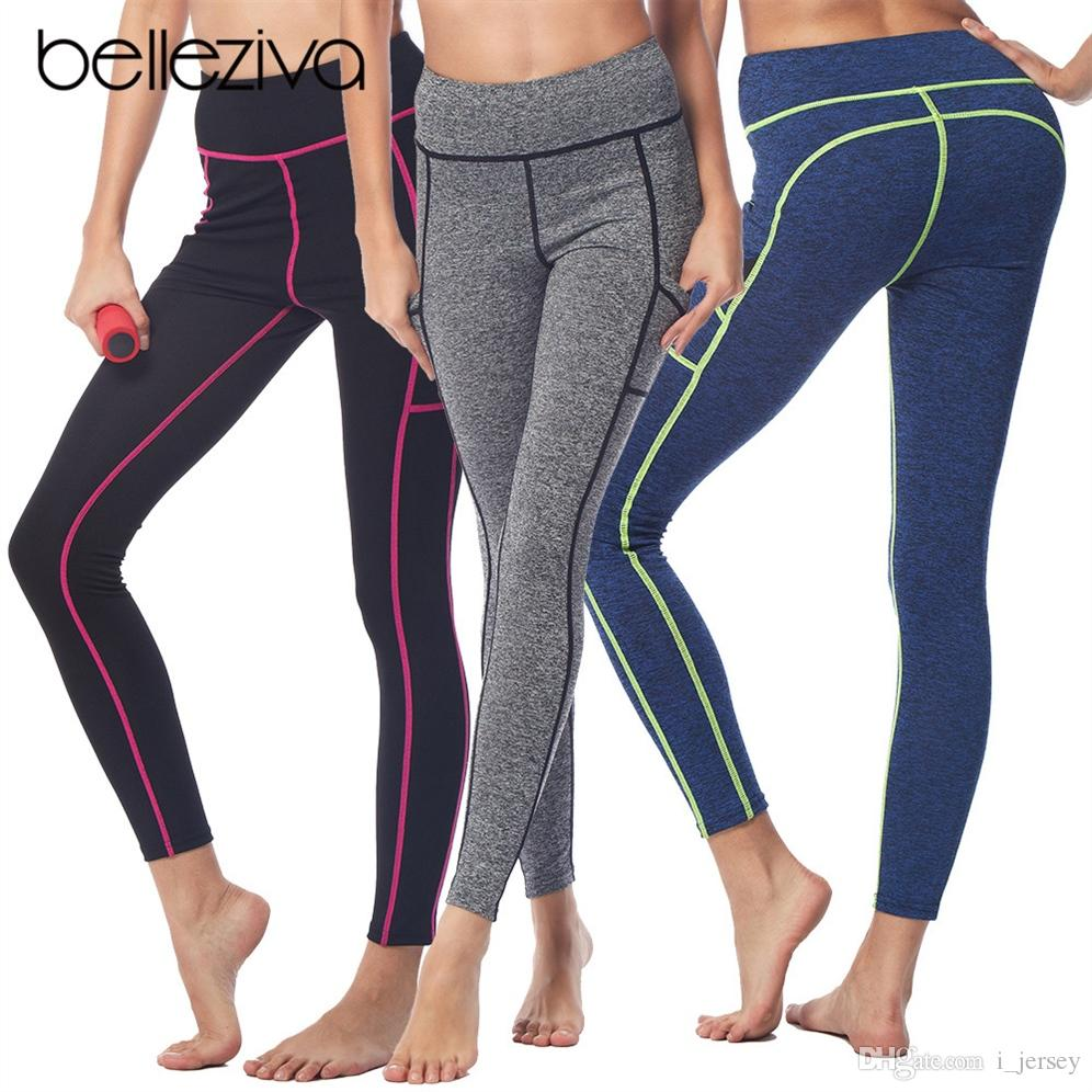 f778826152 2019 Belleziva Women Yoga Pants Sports Tight Side Pocket Leggings For Yoga  Running Workout Tights Female Fitness Trousers Gym Pants #208088 From  I_jersey, ...