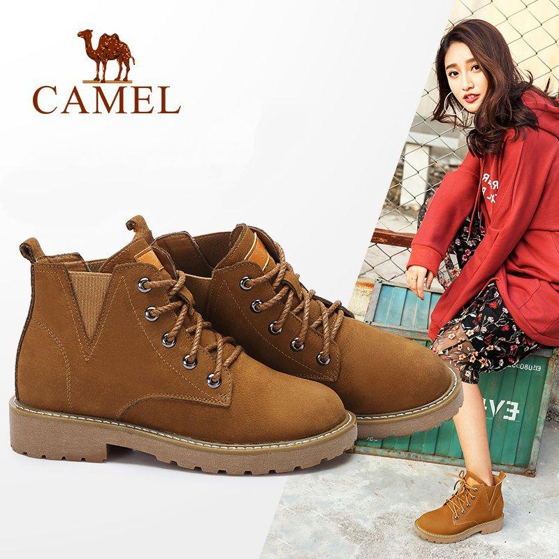 sale retailer 9da19 03e60 CAMEL Women Boots 2018 Winter British Style Short Short Boots Square Head  Thick Heel Ankle Shoes Keep Warm Shoes