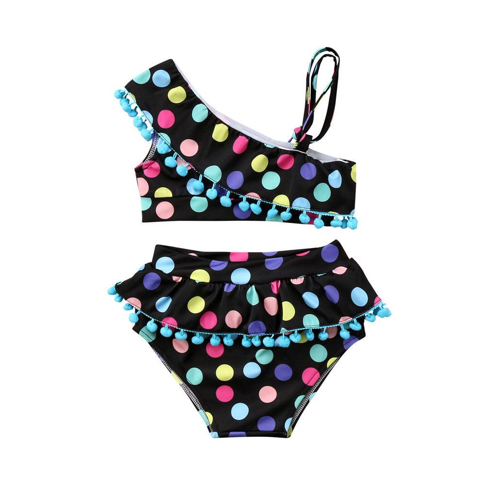 Nette Kinder Baby Mädchen Sommer Bademode Mode Tupfen Quaste Badeanzug Badeanzug Kleinkind Kinder Kinder Tankini Bikini Set