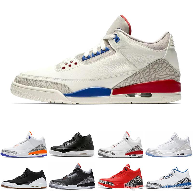 best loved 3dee6 78707 Black white Cement 3 Basketball Shoes 3s tinker sport blue wolf grey  hurricane red New 2019 new sneakers mens trainers Michael Sports