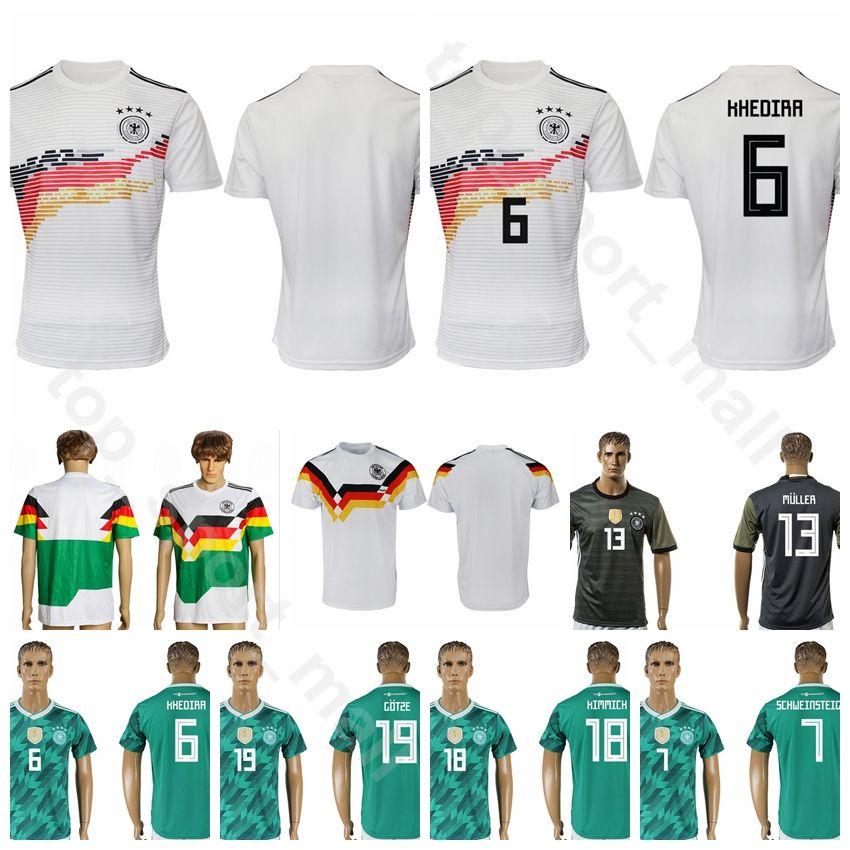 new products f4cf0 74900 Men Soccer 18 GORETZKA Jersey Germany Green White Grey 21 GUNDOGAN 2 KEHRER  19 GOTZE 11 KLOSE 16 LAHM Football Shirt Kits Uniform