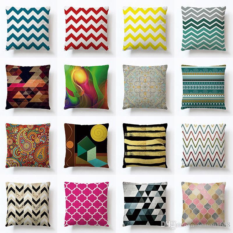 European Throw Pillow Case Linen Cushion Cover Geometric pattern Home Sofa  Decor Square Office Back Car Pillow cover 40 Colors