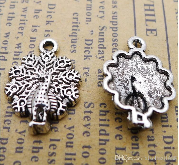 CC1068 15*20mm Ancient Silver Peacock pendant accessories 120/1.8g/package