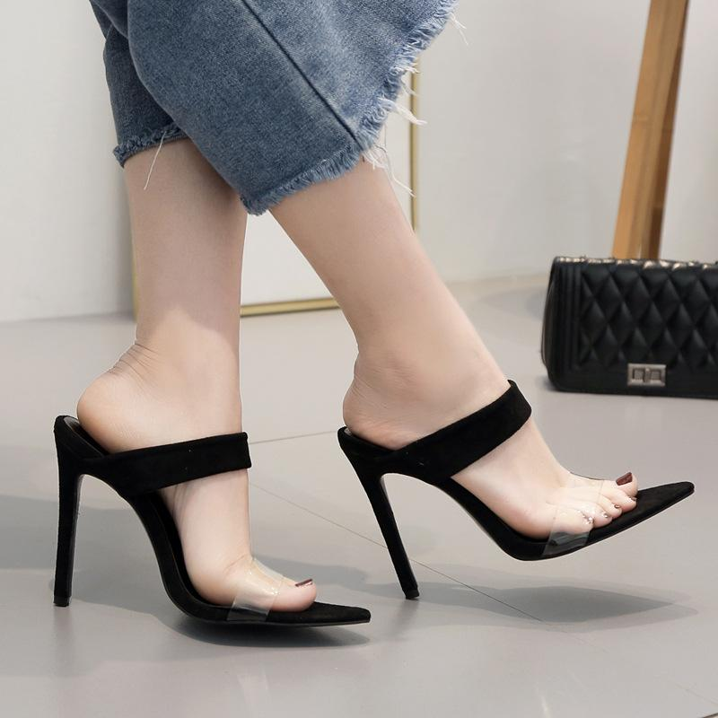 187552b6621f 2019 PVC jalea sandalias de punta abierta tacones altos mujeres zapatillas  de plexiglás transparente zapatos de tacón sandalias transparentes tamaño  ...
