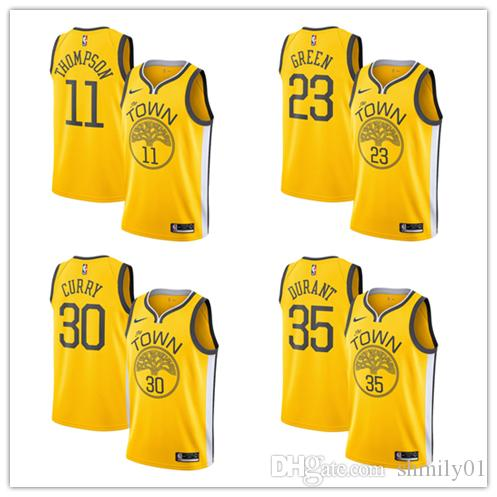 30 Stephen Currys 35 Kevin Durants Golden State Men S Warriors 2018 19  Swingman Basketball Jersey Yellow Earned Edition Slim Fit Tuxedos Tailcoat  Suit From ... 485e34f57