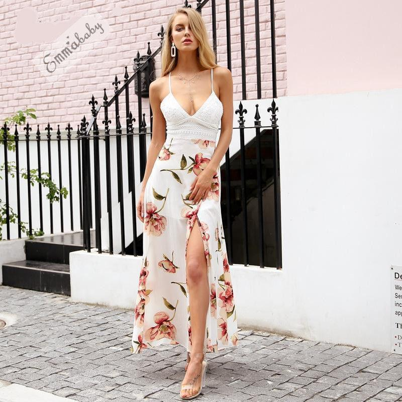 cc0c676c991 Sexy Women Holiday Summer Maxi Long Evening Party Dress Sundress Sleeveless  Bohemian Beach Dress Size S XL Party Dresses Gold Cute Red Party Dresses  From ...