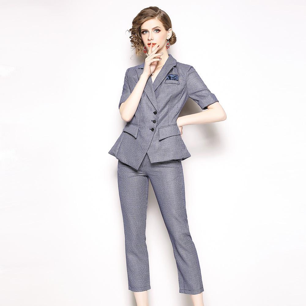8c0afc2a35 Acheter Travail Mode Costume Costumes 2 Pièces Ensemble Pour Les Femmes  Blazer Veste Pantalon Bureau Dame Costume Feminino 2019 De $70.12 Du  Xcq0318 ...
