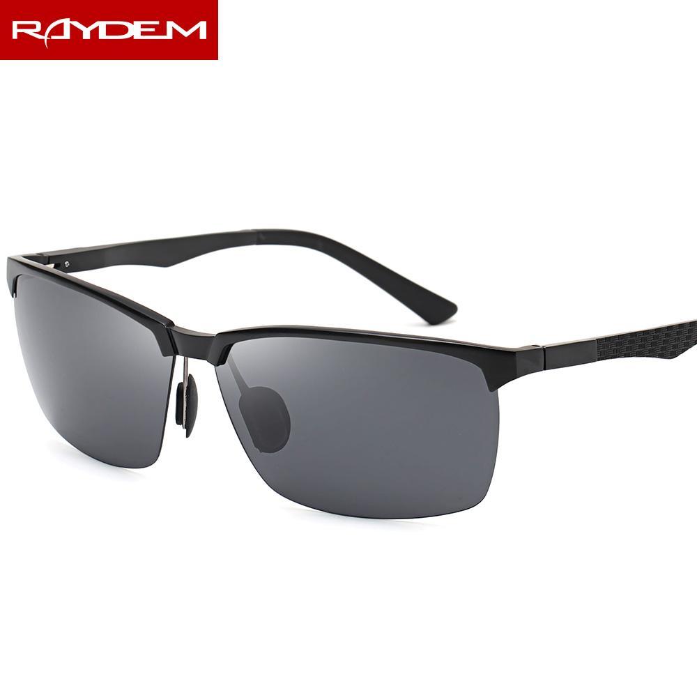 Compre 2018 Raydem Semi Rimless De Alumínio Magnésio Quadro Óculos De Sol  Dos Homens Polarizados Motorista Masculino Óculos De Esporte Estilo UV400  Óculos ... 1d9c856961
