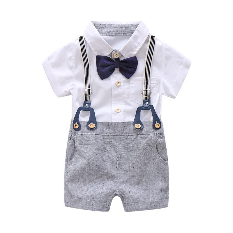 Newborn Baby Boy Summer Formal Clothes Set Bow Wedding Birthday Boys Overall Suit White Romper Shirt Toddler Gentleman Outfit J190514