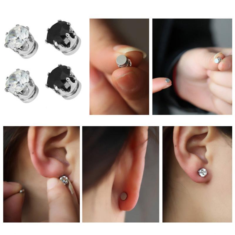 화이트 블랙 마그네틱 자석 귀 스터드 사용하기 쉬운 여성용 크리스털 스톤 스터드 귀걸이 남성 귀걸이 클립 없음 귀고리 GIF 1 쌍