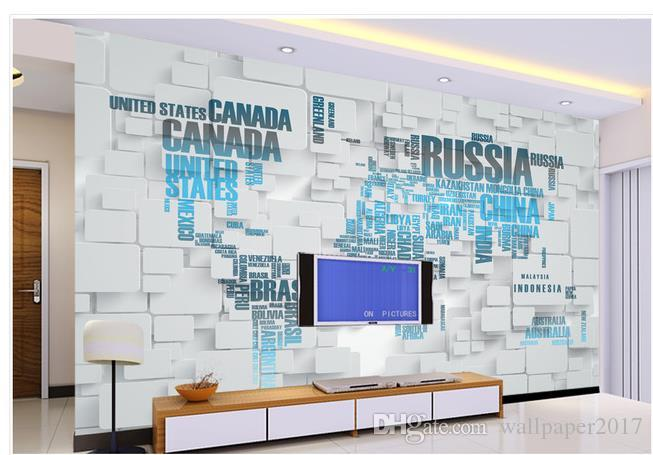 3D Mural World Map TV Background Wall Decoration Painting Wall