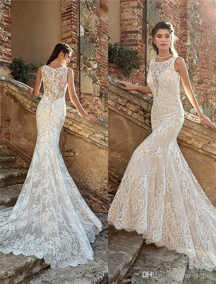 2019 Summer Mermaid Wedding Dresses Backless Full Lace Court Train Beach  Bridal Gowns Formal Dresses For Bohemian Wedding Gowns Custom Made Dresses  Coloured ... 104365f42d5d