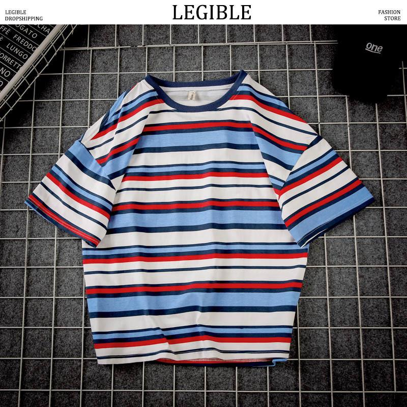 Legible Men Striped T Shirts 2019 Mens Hip Hop Cotton Casual T