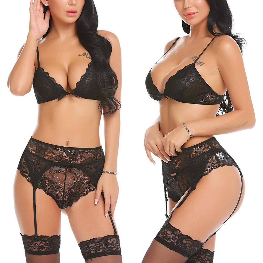 Plus Size XXL Exotic Sets Sexy Lingerie Women Sissy Lace Floral Babydoll Bra G-String Thong Stocking Underwear Hot Erotic